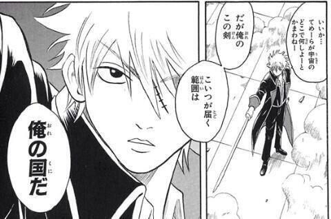 「いいか・・・てめーらが宇宙のどこで何しよーとかまわねー。だが俺のこの剣、こいつが届く範囲は、俺の国だ」by坂田銀時