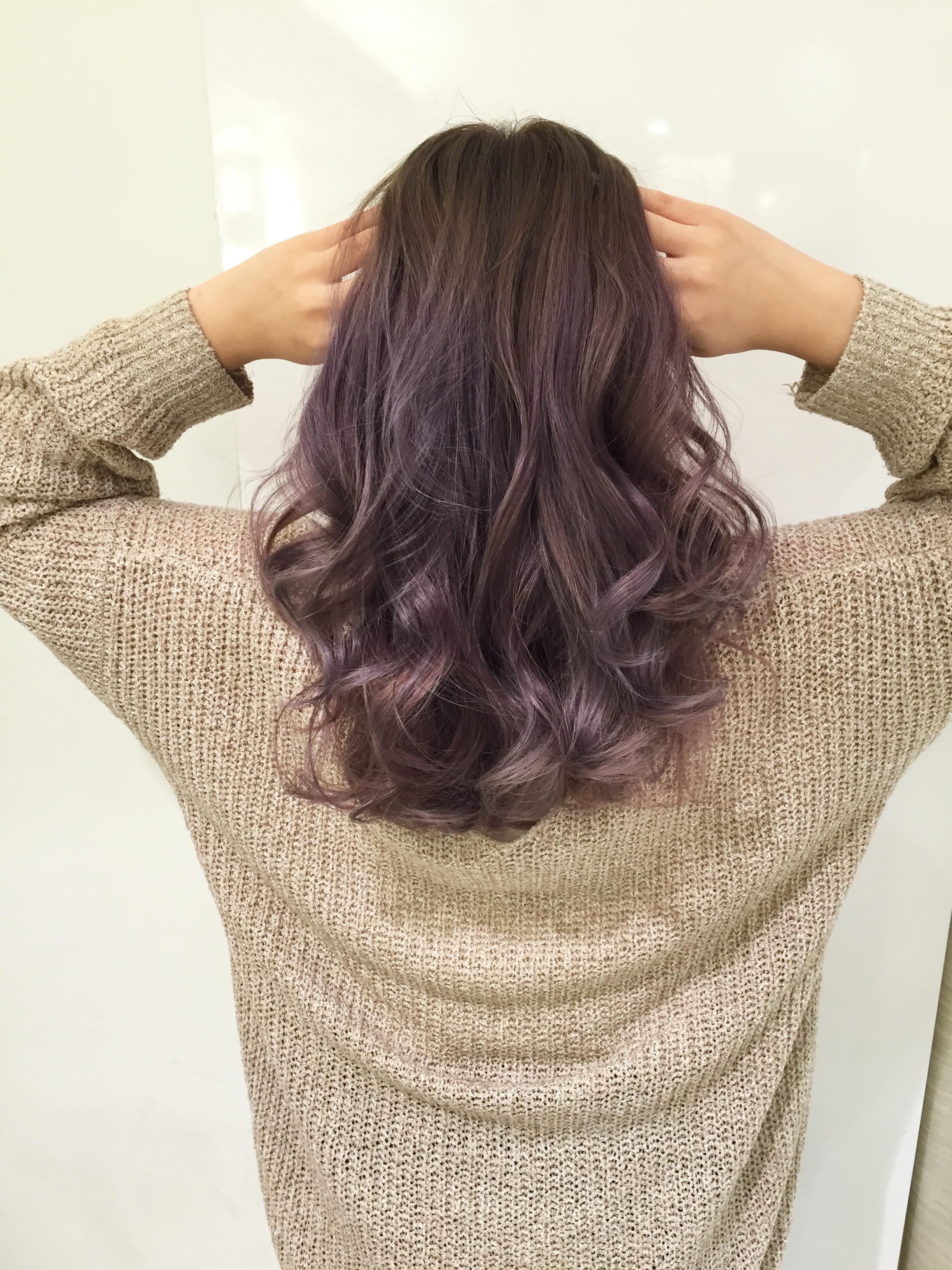 【ラベンダーアッシュ】ブリーチなしで暗めの髪色・ヘアカラー【ダーク・ピンク】のサムネイル画像