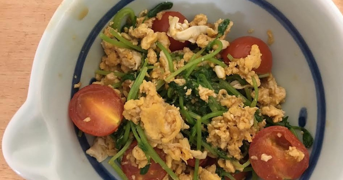 ミニトマトと豆苗と卵の炒め物 by jknami [クックパッド] 簡単おいしいみんなのレシピが255万品