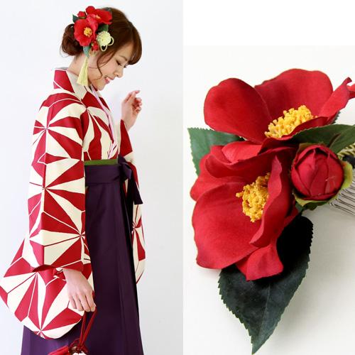 椿2輪と丸菊の金タッセル付髪飾り